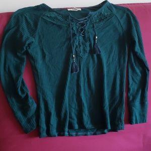 Dark blue green waffle knit blouse